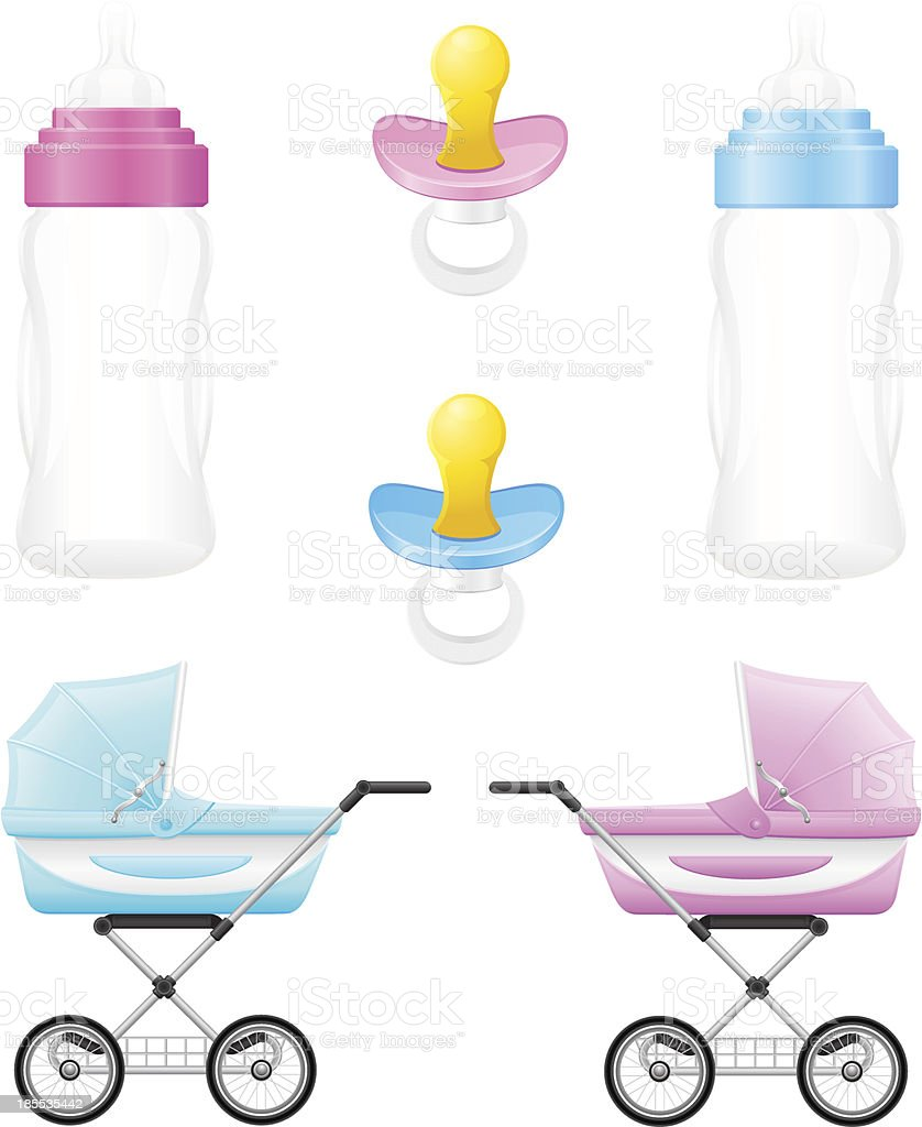 set icons perambulator bottle pacifier pink and blue vector illustration royalty-free stock vector art