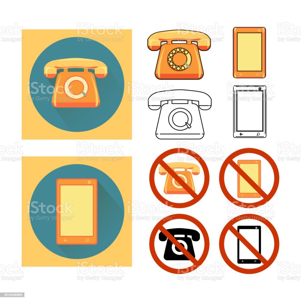 Set Icons Phone Call Barring Stock Illustration - Download Image Now