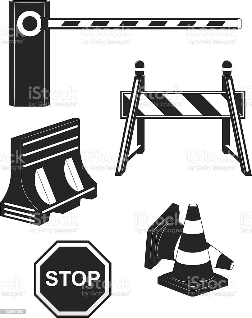 set icons road barrier black silhouette vector illustration royalty-free set icons road barrier black silhouette vector illustration stock vector art & more images of barricade