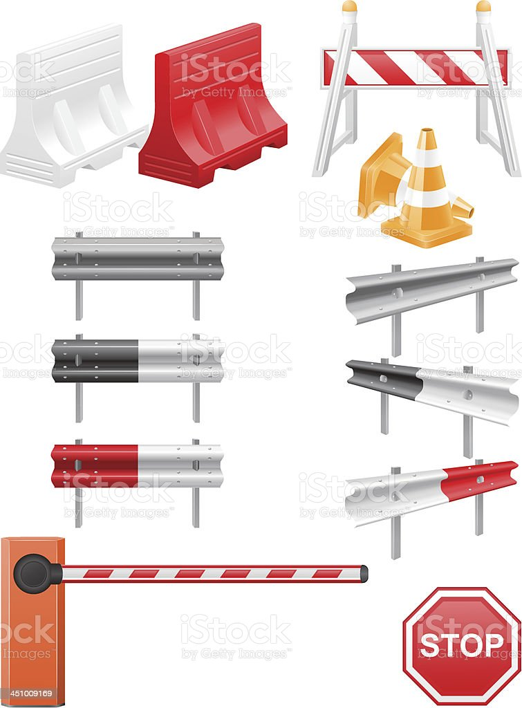 set icons road barrier vector illustration vector art illustration