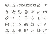 Set line icons sign and symbols in flat design medicine and health vector illustration