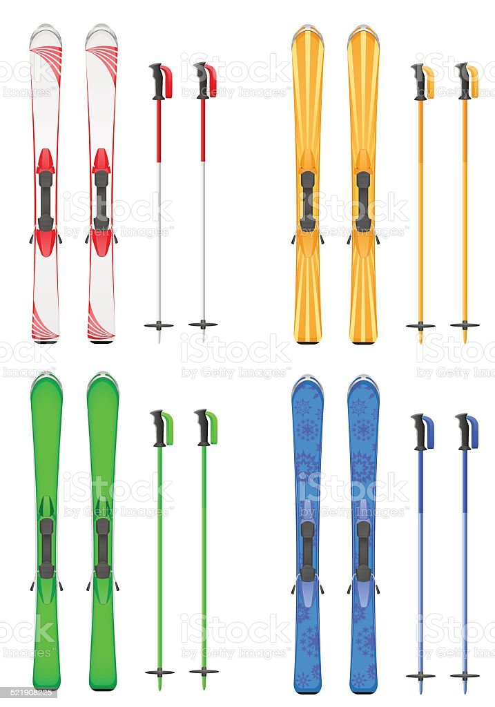 set icons skis mountain vector illustration vector art illustration