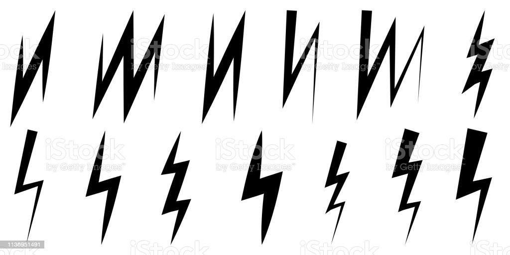 Set Icons Thunder And Lightning Vector Symbol Z Sign Zigzag