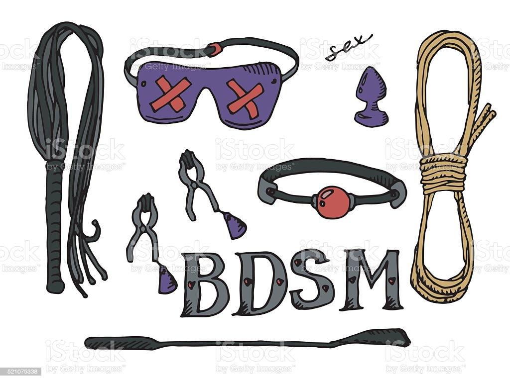 BDSM set icons vector art illustration