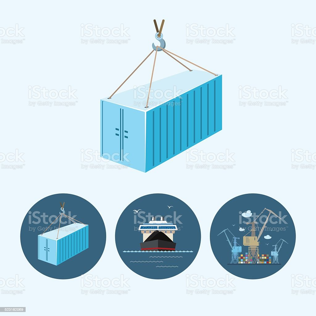 Set icons with   container, drycargo ship , the crane with containers vector art illustration