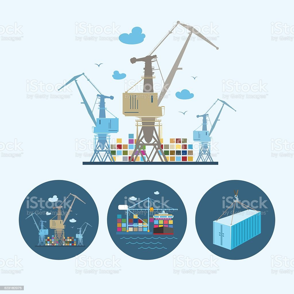 Set icons with   container,  the cranes with containers in dock vector art illustration