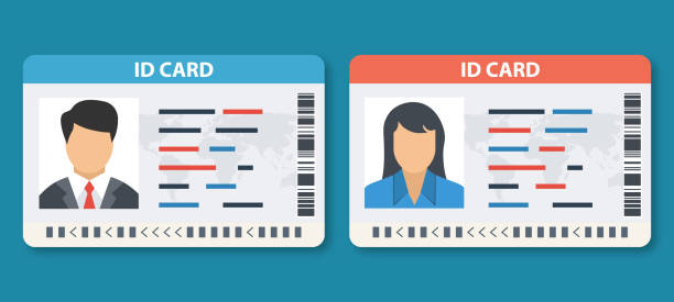 id 카드 벡터 일러스트 레이 션을 설정 합니다. 남자와 여자 사진 id 카드 또는 자동차 드라이버 라이센스. - 신분 stock illustrations