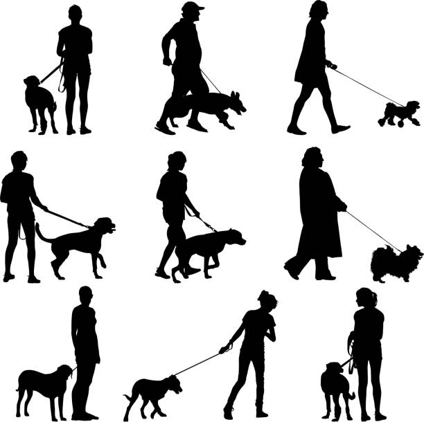 Set ilhouette of people and dog. Vector illustration. vector art illustration