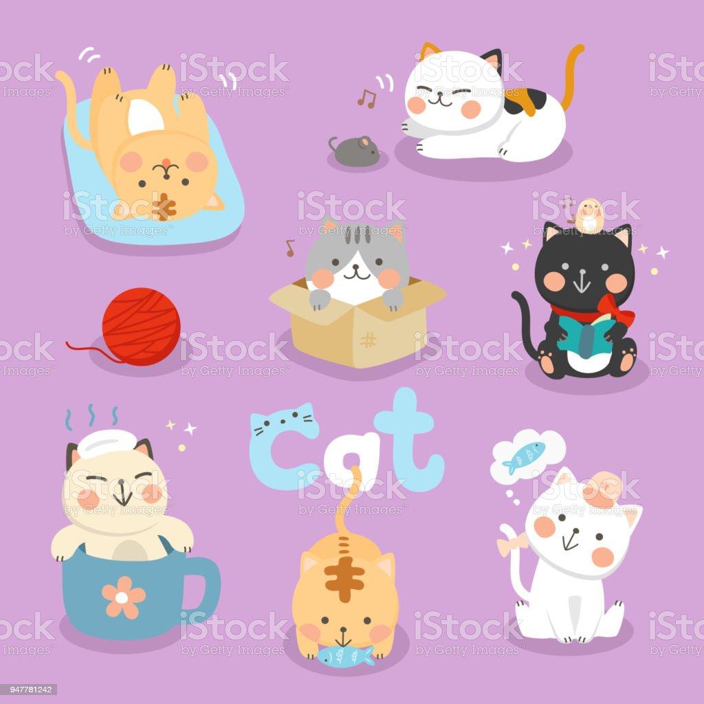 設定イラストかわいい猫 アイコンのベクターアート素材や画像を多数ご用意 Istock