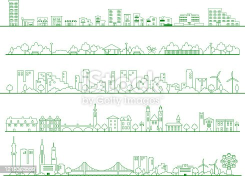 set illustration of city living area  Residential areas,park,school,buildings