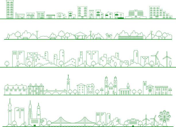 set-illustration von stadt wohnbereich wohngebiete, park, schule, gebäude - kleinstadt stock-grafiken, -clipart, -cartoons und -symbole