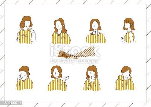 set illustration of stylish woman's face