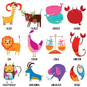 Set illustration with cartoon zodiac signs.Funny characters set for your design in different poses.