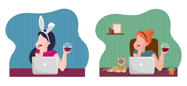 Set illustration young free womans on online dating or try to found couple. Online chatting and drinking red wine. Flat illustration for web, landing page, banner.