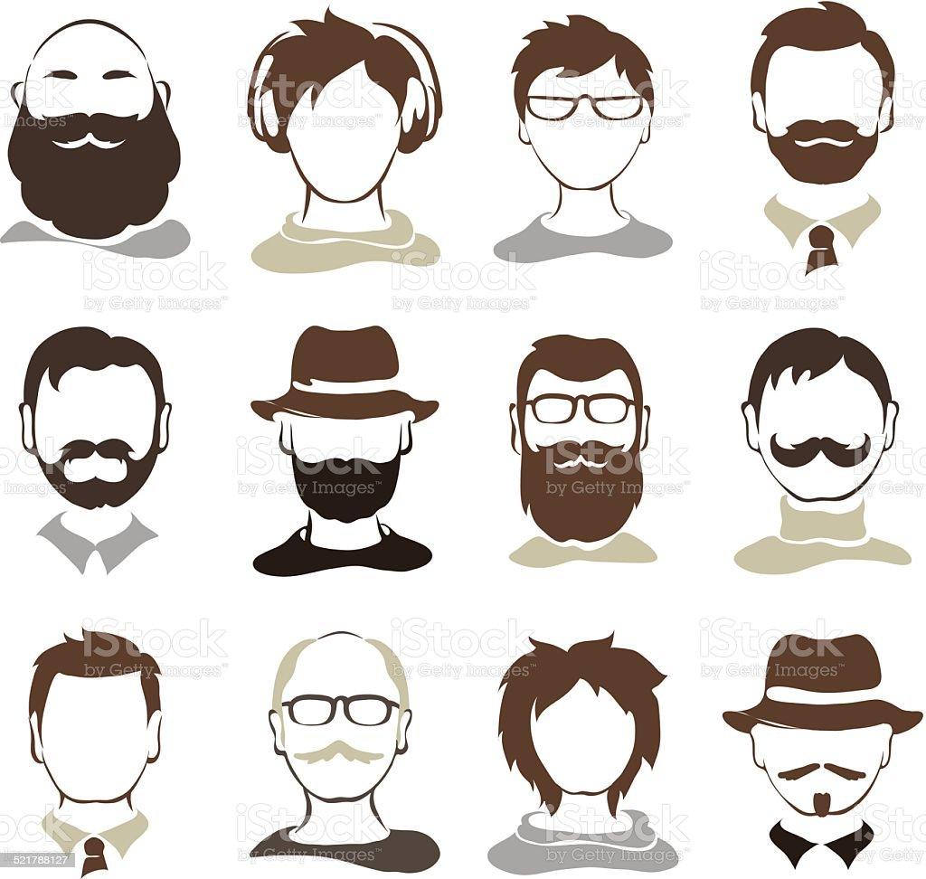 Set illustrations -- male avatars vector art illustration