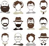 Set illustrations -- male avatars