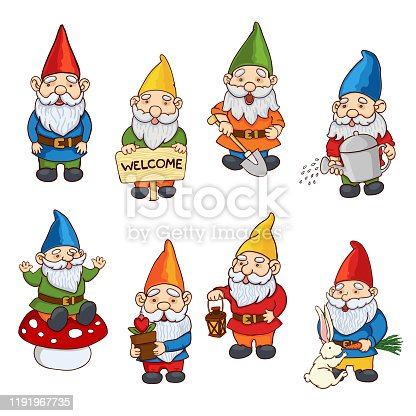 Vector colorful collection illustrations of garden gnome. Set of cute fairytale characters
