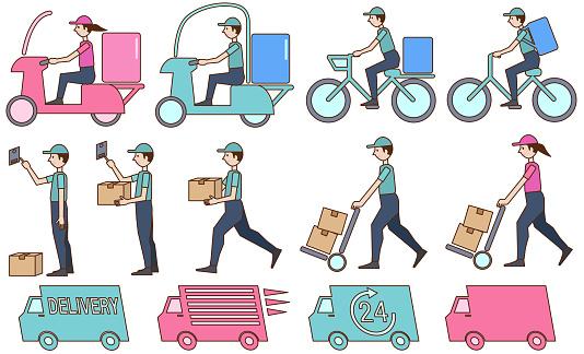 Set illustrations of people delivering packages