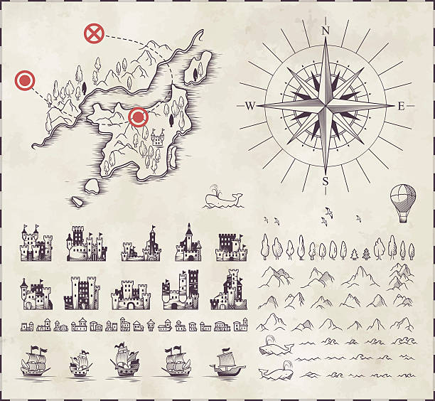 im mittelalterlichen kartographie - kartographie stock-grafiken, -clipart, -cartoons und -symbole