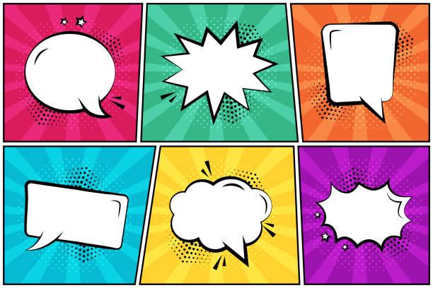 illustrations, cliparts, dessins animés et icônes de situé dans le style pop art. bulles vides blanches de discours comiques sur le fond coloré. illustration de vecteur - effets sonores