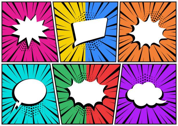 illustrations, cliparts, dessins animés et icônes de situé dans le style pop art. bulles vides blanches de discours comiques sur le fond coloré. vecteur - effets sonores