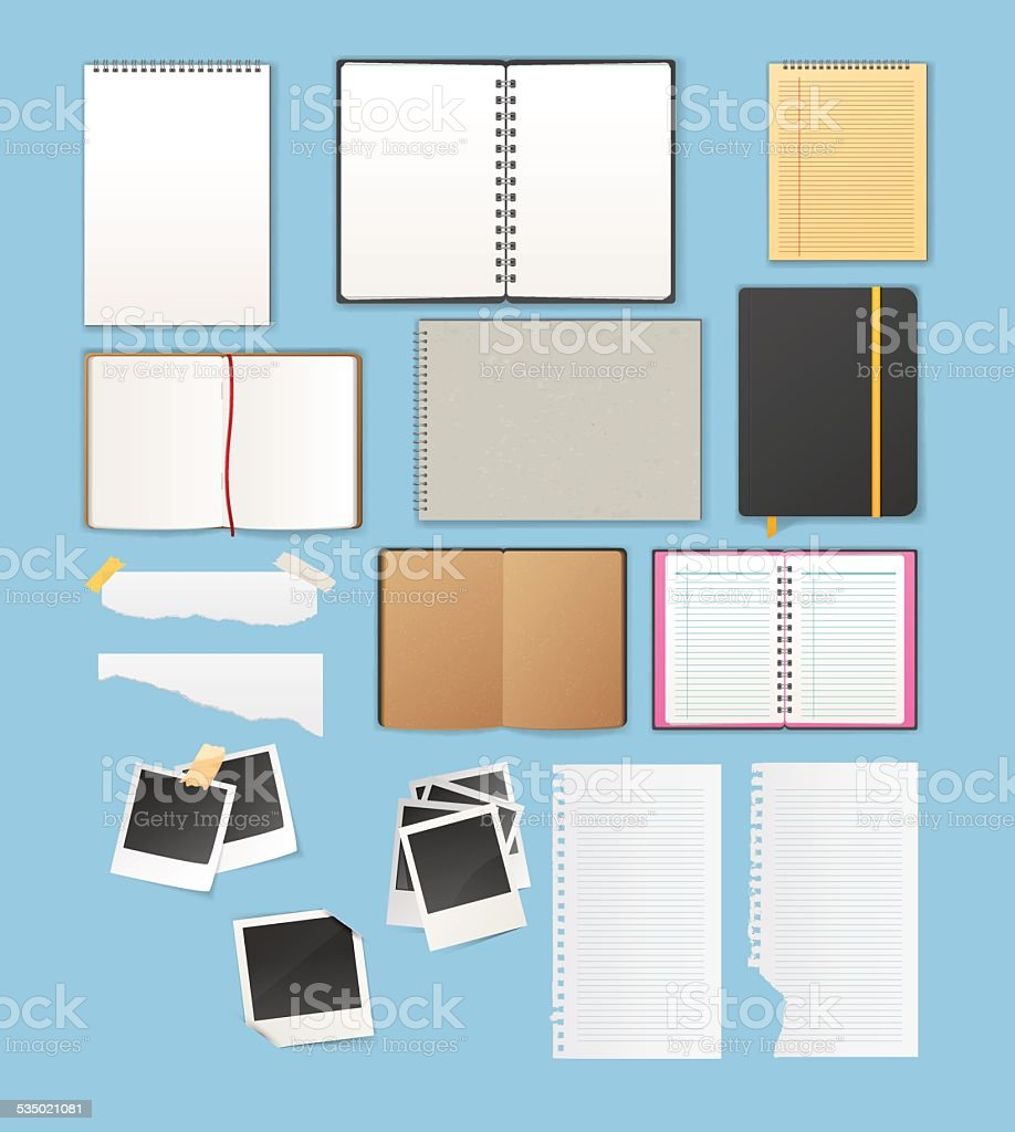 Set include notebooks and papers vector art illustration