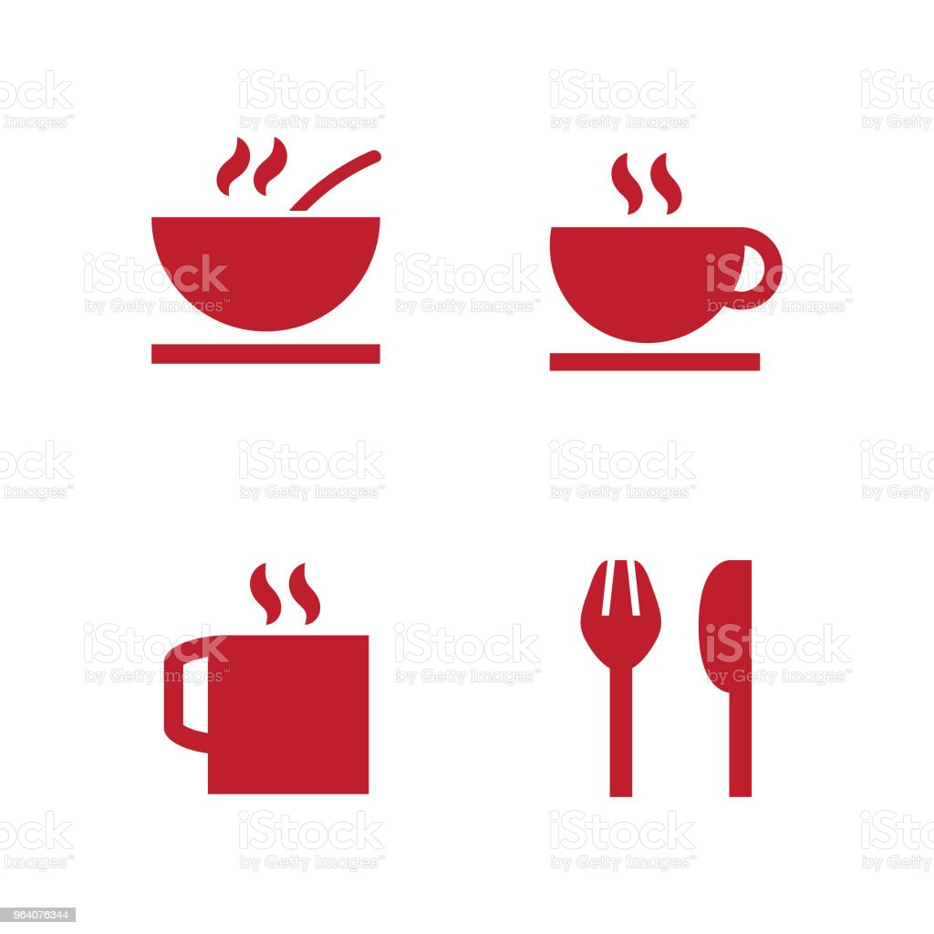Set includes icons as restaurant sign, restaurant location, dishes and food - Royalty-free Cafe stock vector