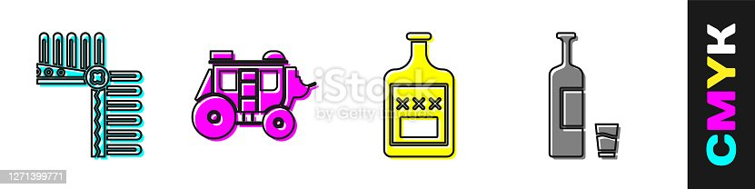 Set Indian headdress with feathers, Western stagecoach, Whiskey bottle and Whiskey bottle and glass icon. Vector