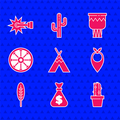 Set Indian teepee or wigwam, Money bag, Cactus peyote in pot, Cowboy bandana, feather, Old wooden wheel, Drum and Spur icon. Vector
