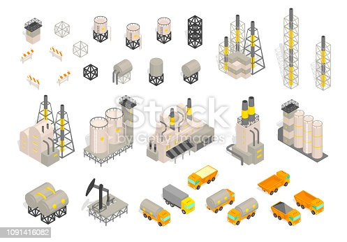 Set industrial factories plant building and trailer delivery. Isometric vector illustration. Industrial production factory. Facility manufacturing. Vector isometric style colorful illustration