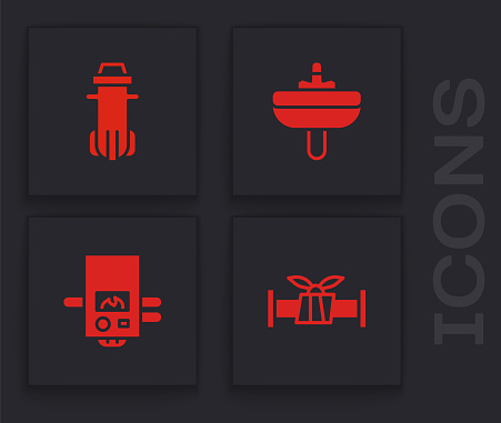 Set Industry metallic pipe, Water filter, Washbasin and Gas boiler icon. Vector