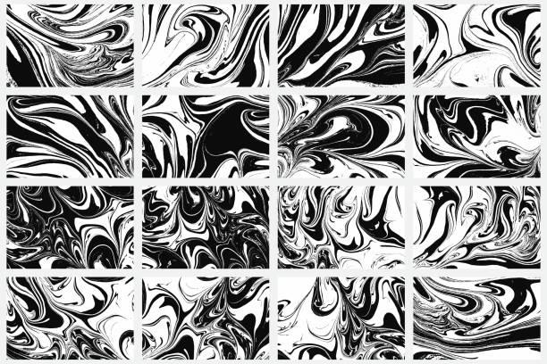 bildbanksillustrationer, clip art samt tecknat material och ikoner med ställ in bläck textur 16 akvarell handritad konstnärliga marmorering inbjudan, traditionella turkiska ebru illustration. abstrakt bakgrund utskrift på papper. mall för klänning och trasa print, inbjudningar. - marble