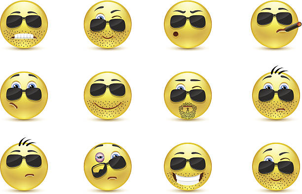 set inspirationa bearded emoticons - jealous emoji stock illustrations, clip art, cartoons, & icons