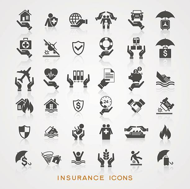 bildbanksillustrationer, clip art samt tecknat material och ikoner med set insurance icons - house after fire