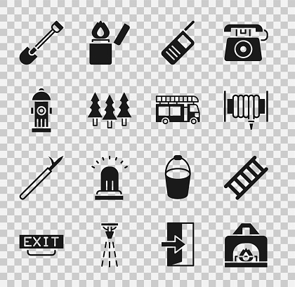 Set Interior fireplace, Fire escape, hose reel, Walkie talkie, Forest, hydrant, shovel and truck icon. Vector