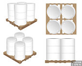 Set. Iron barrels on wooden pallets. Realistic. From different angles isolated on white background.