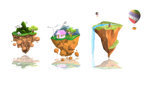 set island low polygon landscape Set three island low polygon landscape  background,geometric and triangle shape design,balloon, isolated with white background,nature environment ecology concept,vector art and illustration. floating on water stock illustrations