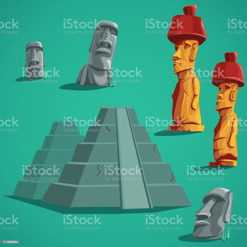 Set isolated elements of stones, statues, pyramids vector art illustration