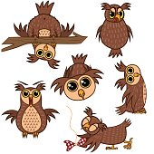 Set isolated Emoji character cartoon owl with different emotions. Vector Illustrations