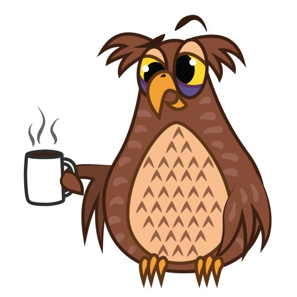 Set isolated Emoji character cartoon sleepy owl with coffe cup. Vector Illustrations vector art illustration