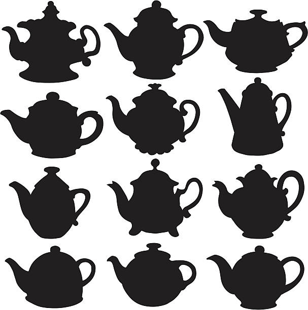 Set isolated icon kettles, teapots, coffee pot Set isolated icon silhouette kettles, teapots, coffee pot on white background teapot stock illustrations