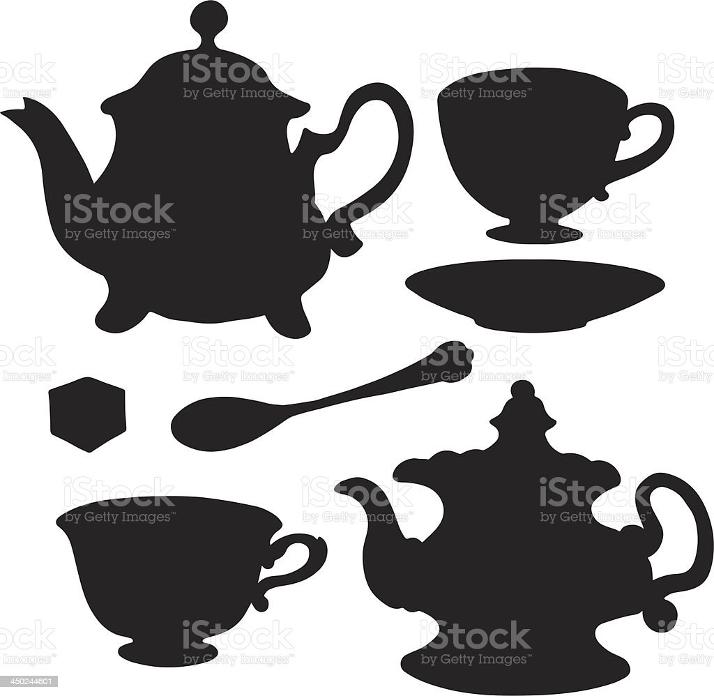 Set isolated icon teapots, teacups, teaspoon, saucer and sugar vector art illustration
