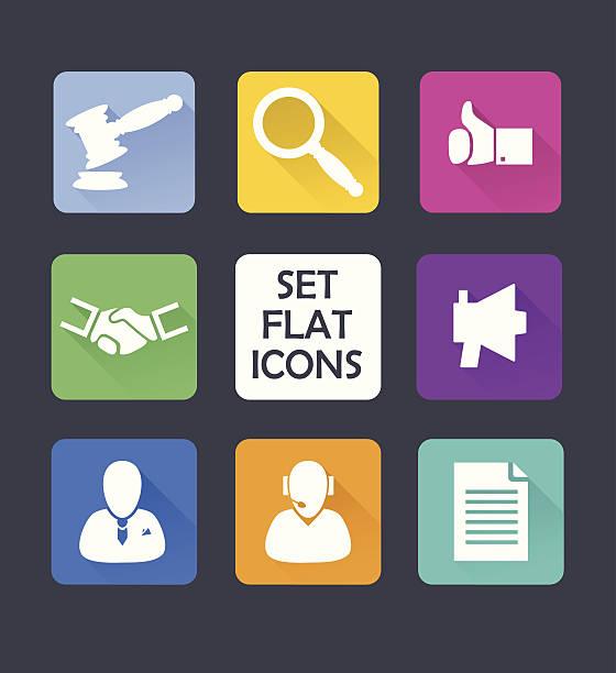 set isoliert symbole für web.  flat-design. - rechtsassistent stock-grafiken, -clipart, -cartoons und -symbole