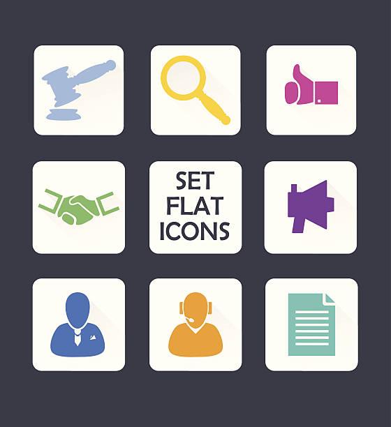 set isoliert symbole für web.  flat-design.  vektor. - rechtsassistent stock-grafiken, -clipart, -cartoons und -symbole