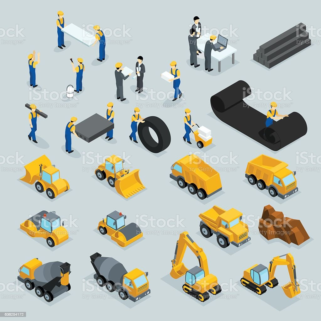 Set isometric 3D icons for construction workers, crane, machinery, power – Vektorgrafik