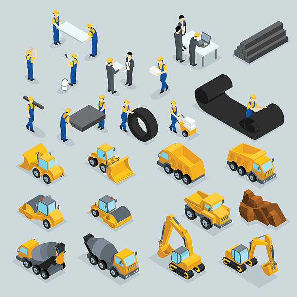set isometric 3d icons for construction workers, crane, machinery, power - bauarbeiter stock-grafiken, -clipart, -cartoons und -symbole