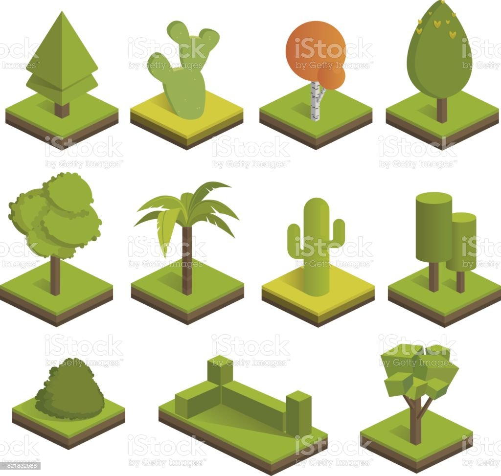 Set isometric 3d trees.Big and small trees,bush,palm tree,cactus,spruce.Vector icons for isometric maps, games and your design.