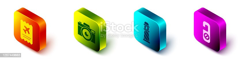 istock Set Isometric Airline ticket, Photo camera, Lighthouse and Please do not disturb icon. Vector 1257449663