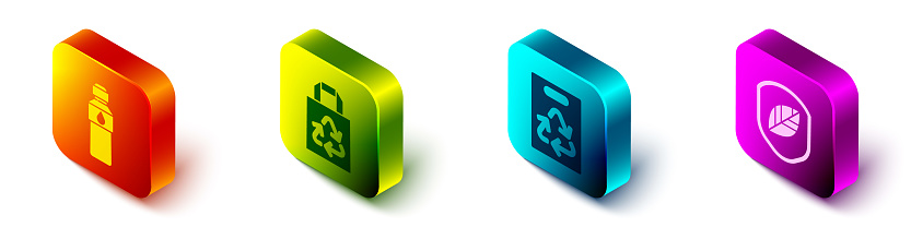 Set Isometric Bottle of water, Paper bag with recycle, Paper bag with recycle and Shield with leaf icon. Vector