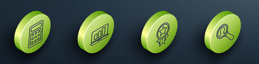 Set Isometric Calculator, Laptop with graph chart, Medal with star and Magnifying glass for search a people icon. Vector